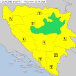 UPOZORENJE ZA BiH Upaljen žuti meteoalarm zbog visokih temperatura i PLJUSKOVA