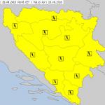 UPOZORENJE ZA BiH Upaljen žuti meteoalarm zbog OBILNIH PADAVINA I LOKALNIH NEPOGODA