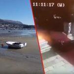 Nevjerovatni prizori iz Hrvatske: Nestalo more, dok je bura u Dalmaciji natjerala čoveka da leti (VIDEO)