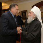 Dodik i Vučić na slavi kod patrijarha Irineja (FOTO)