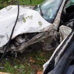 STRAVIČNO U punoj brzini se zakucao u drvo, PREPOLOVIO BMW I BANDERU (FOTO)
