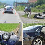 """NESREĆA NA PUTU U sudaru tri vozila povrijeđeno više osoba, """"pasat"""" se PREVRNUO NA KROV"""