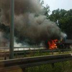 Izgorio kamion na auto-putu kod Beograda (FOTO/VIDEO)