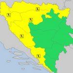 Žuti meteoalarm za veći dio BiH: U četvrtak nevrijeme