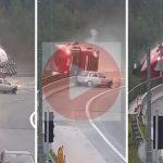 Kamion pao s nadvožnjaka, vozač je poginuo (VIDEO)
