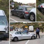 Krš i lom pet automobila: BMW bez pola prednjeg dijela