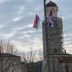 Zastave Srpske i Srbije u Beogradu povodom Sretenja